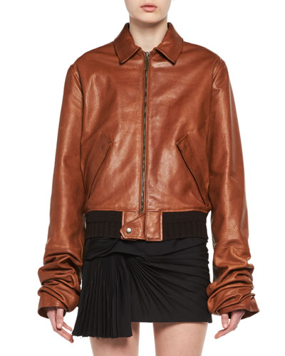 Calfskin Leather Bomber Jacket
