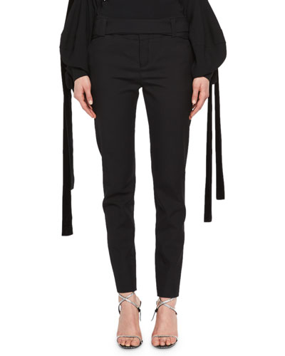 Slim-fit drawstring trousers in a virgin-wool blend BOSS