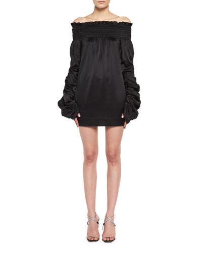Silk Satin Off-the-Shoulder Minidress
