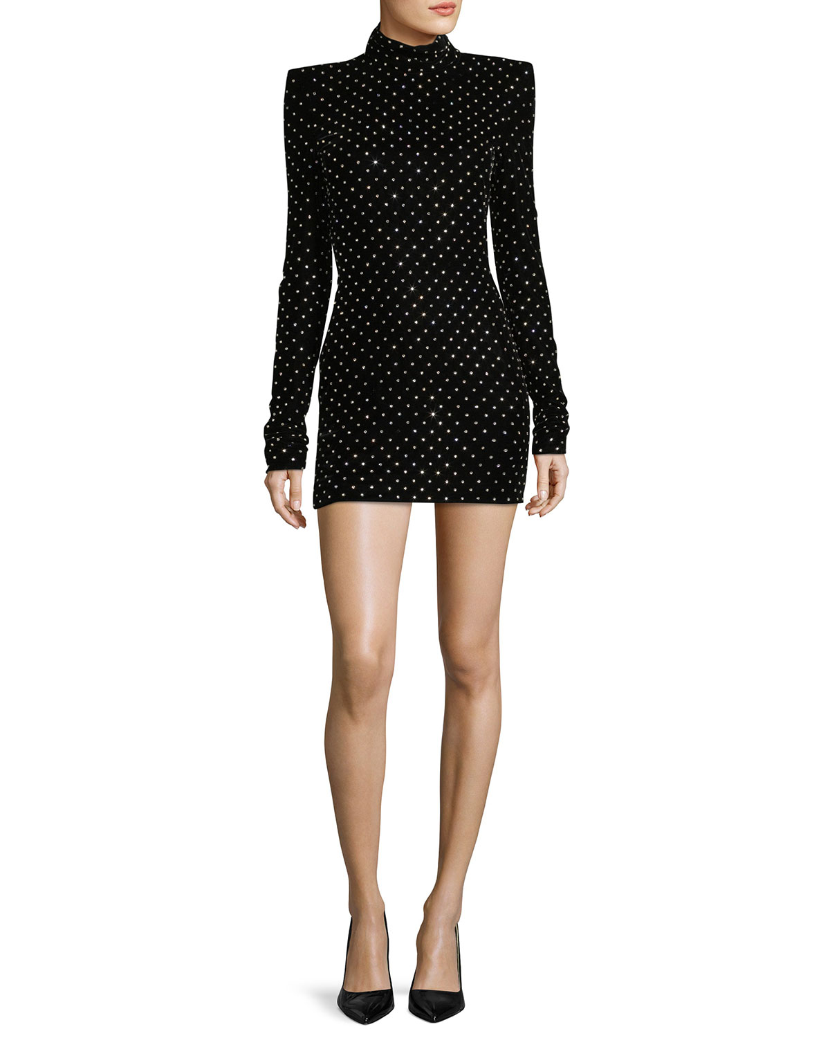 Crystal-Studded Turtleneck Minidress