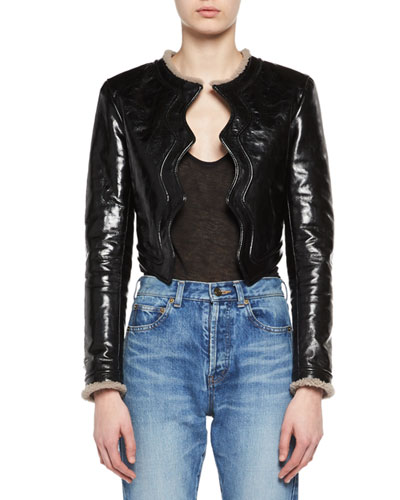 Scallop-Edged Shearling-Lined Leather Jacket