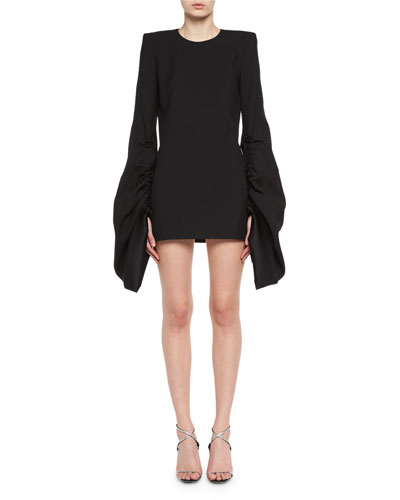 Strong-Shoulder Long-Sleeve Minidress