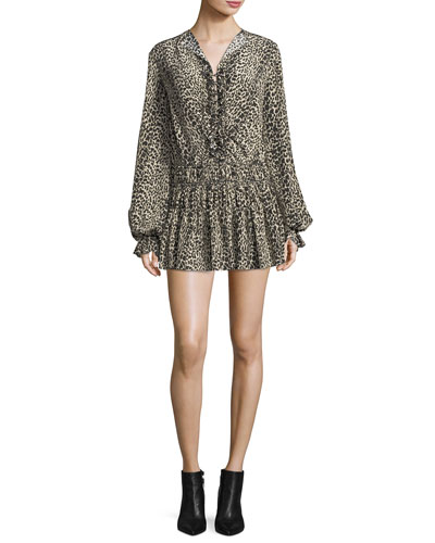 Leopard-Print Silk Flounce Minidress