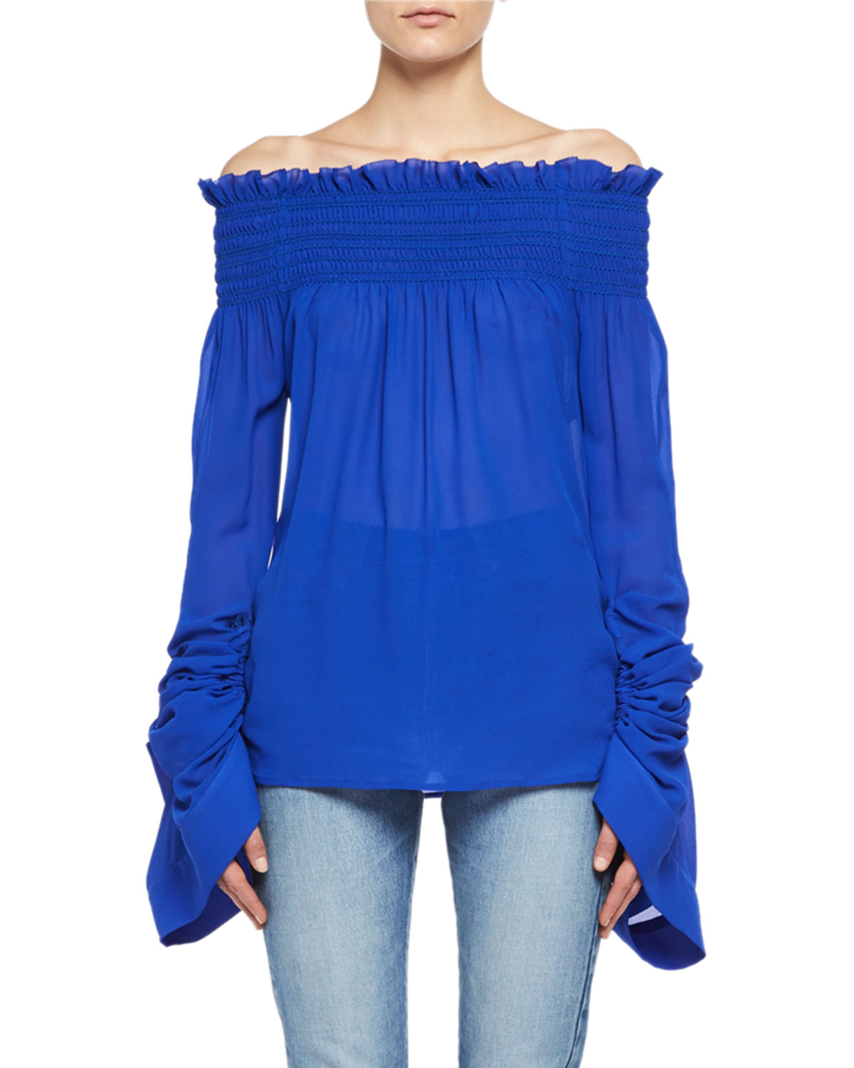 Silk Georgette Off-the-Shoulder Top
