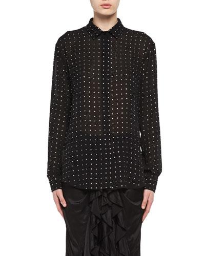 Crystal-Embellished Silk Georgette Shirt