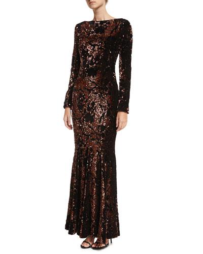 Lorena Sequined Velvet Long-Sleeve Gown