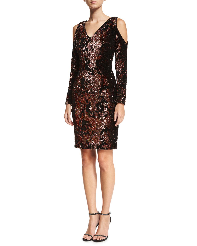 Sequined Velvet Cold-Shoulder Cocktail Dress