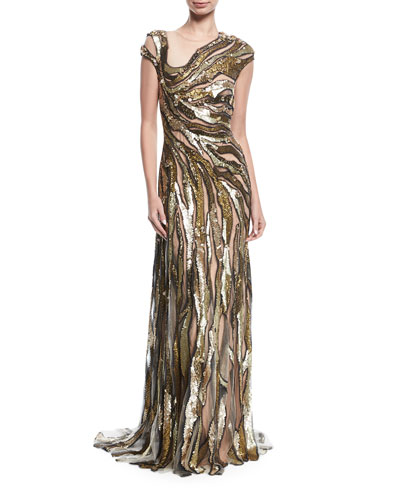 Molten Sequin Illusion Gown