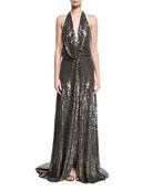 Molten Sequin Halter Gown