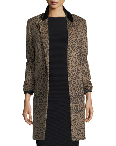 Leopard-Print One-Button Coat