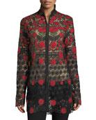 Floral-Embroidered Jacket