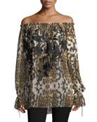 Floral-Embroidered Leopard-Print Off-the-Shoulder Blouse