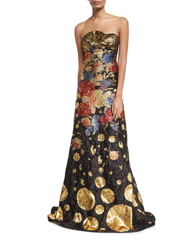 Metallic Floral Brocade Strapless Evening Gown