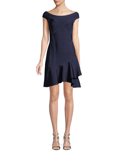 Nicole Scoop-Neck Ruffle-Hem Minidress