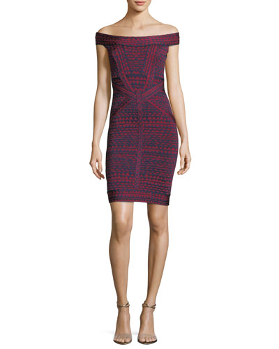 Off-the-Shoulder Bandage Jacquard Cocktail Minidress