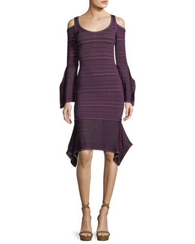 Cold-Shoulder Bell-Sleeve Dress