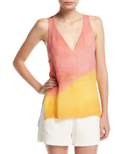 Watercolor Silk Twist-Back Tank