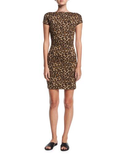 Cap-Sleeve Backless Leopard Minidress