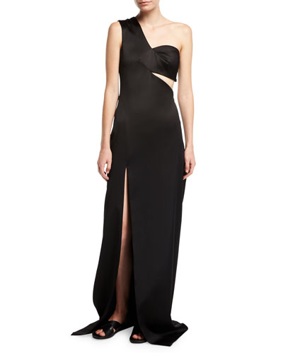 One-Shoulder Satin Column Gown