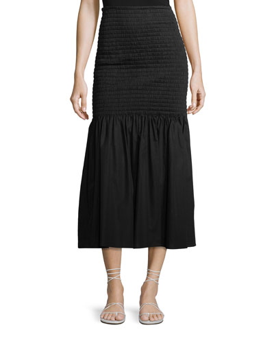 Smocked High-Waist Midi Skirt