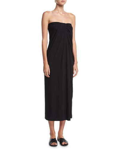 Strapless Twist-Front Midi Dress