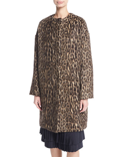 Cynthia Brushed Leopard-Print Caban Coat