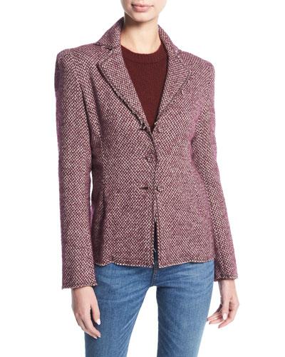 BROCK COLLECTION Jocelyn Tweed Blazer Jacket in Brown Pattern
