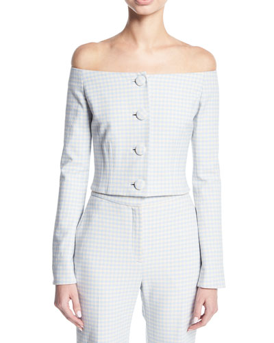 Jackie Off-the-Shoulder Gingham Suiting Jacket