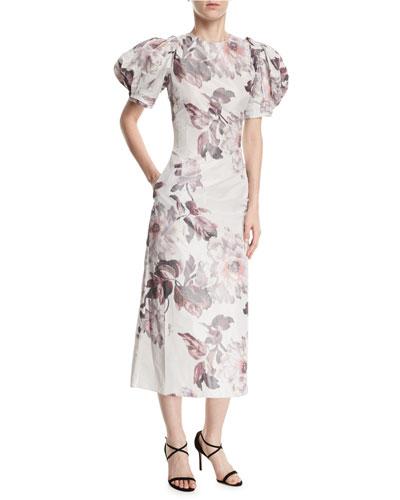 Damara Puff-Sleeve Midi Cocktail Dress
