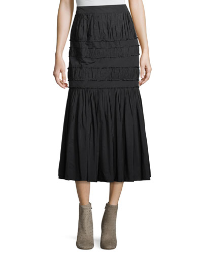 Sevilla Pleated Taffeta A-Line Midi Skirt