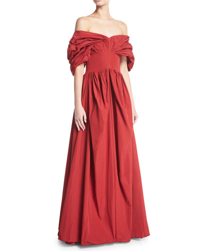 Dionne Off-the-Shoulder Taffeta Gown