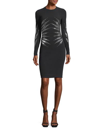 Studded Cady Long-Sleeve Cocktail Dress