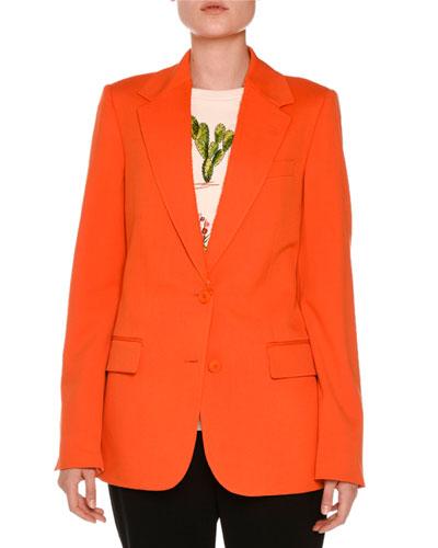 Frayed Notch-Collar Two-Button Blazer