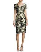 Leaf-Jacquard Short-Sleeve Dress