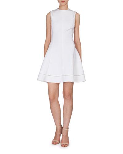 Sleeveless Fit-&-Flare Dress, White