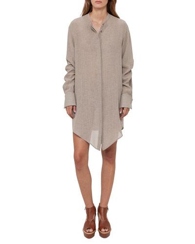 Long-Sleeve Asymmetric Linen Tunic