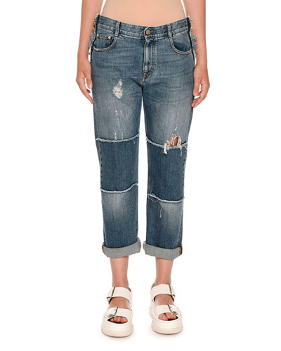 Tattered Patchwork Boyfriend Jeans, Dark Classic Blue