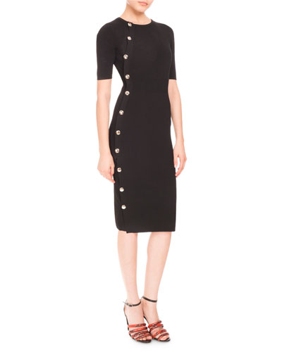 Short-Sleeve Side-Button Dress, Black