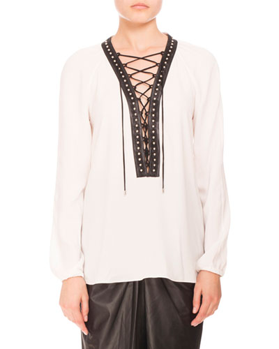 Studded Lace-Up Peasant Blouse, Natural White