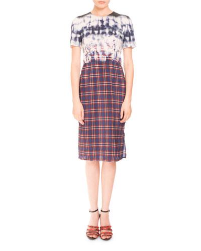 Short-Sleeve Bleached Plaid Dress, Royal Blue