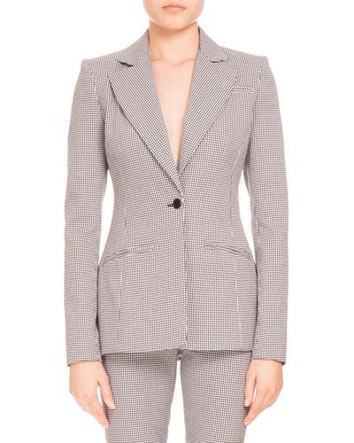 Acacia Mini-Gingham One-Button Blazer, Black/White