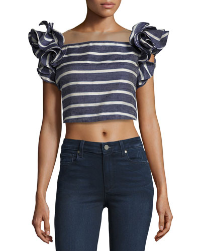 Striped Ruffled-Shoulder Cropped Blouse, Blue/White