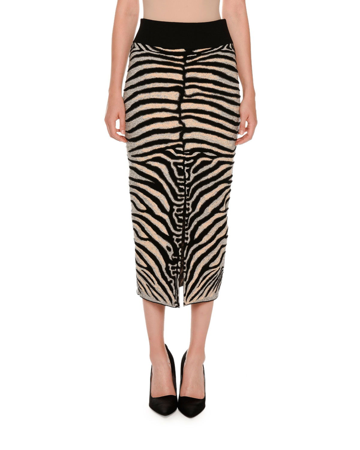 Zebra-Print Slim Slit-Back Skirt, Multicolor