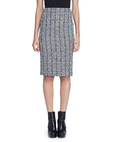 Lightweight Tweed Pencil Skirt, Black/White