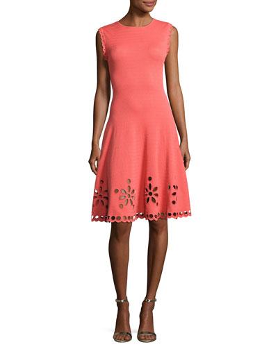 Sleeveless Knit Eyelet Dress