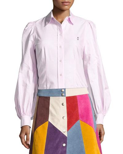 Bishop-Sleeve Cotton Blouse