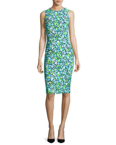 Spring Floral Sleeveless Sheath Dress, Turquoise