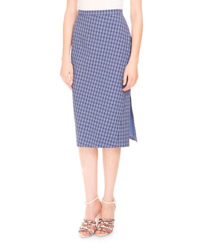 Tubino Seersucker Pencil Skirt, Provence Blue