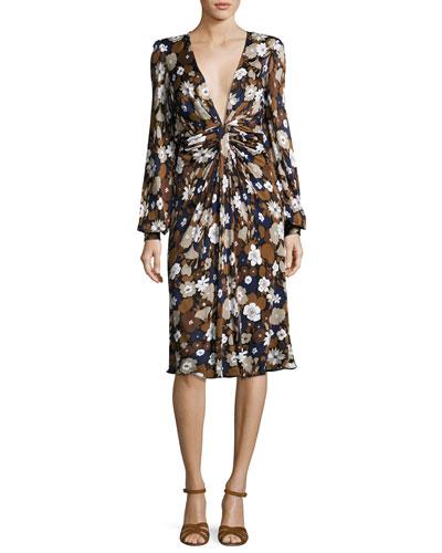 Floral Knotted Deep-V Dress, Brown/Multi