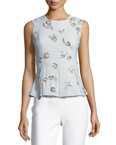 Tara Sleeveless Gingham Suiting Top w/ Embellishments